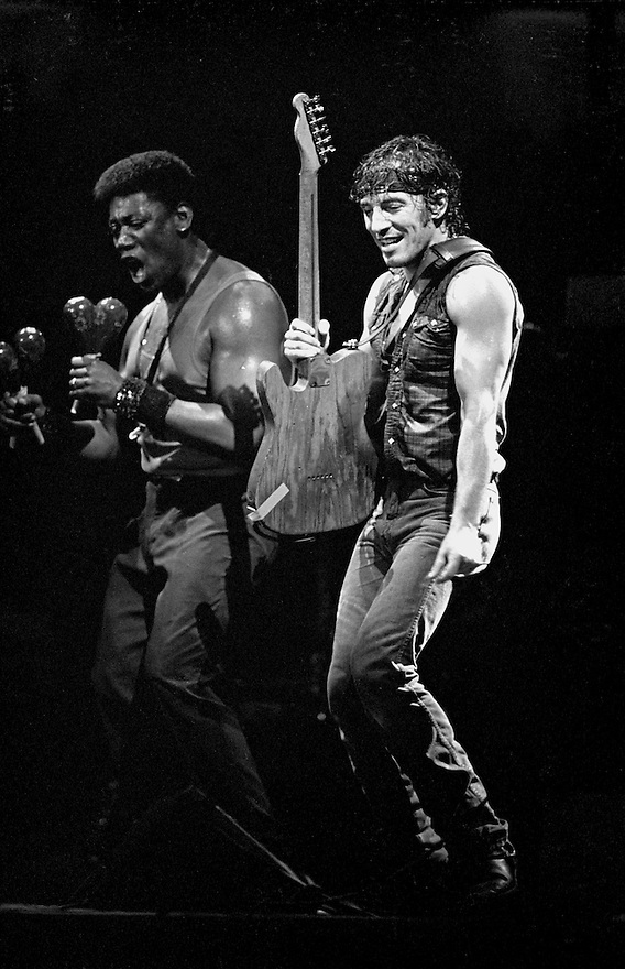 """Legendary rock star and icon Bruce Springsteen performs with Clarence Clemons during his """"Born in the U.S.A."""" tour in Philadelphia"""