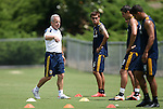 28 May 2012: Assistant coach Dave Sarachan (left) leads Hector Jimenez (16) and others in a drill. The Los Angeles Galaxy held a training session on Field 6 at WakeMed Soccer Park in Cary, NC the day before playing in a 2012 Lamar Hunt U.S. Open Cup third round game.