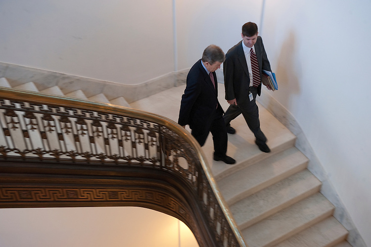 UNITED STATES - MARCH 20: Sen. Roy Blunt, R-MO., makes his way down the steps of the Russell Senate Office Building on March 20, 2013. (Photo By Douglas Graham/CQ Roll Call)