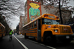 A school bus waits for students at the entrance of a local school in New York. 01/15/2013. .Drivers of yellow school buses in New York are planning to go on strike tomorrow Wednesday, leaving more than150,000 children looking for a new way to get to school. Photo by Eduardo Munoz Alvarez / VIEW.