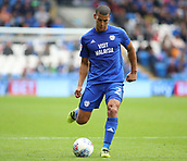 30th September 2017, Cardiff City Stadium, Cardiff, Wales; EFL Championship football, Cardiff City versus Derby County; Lee Peltier of Cardiff City plays it wide to create a chance
