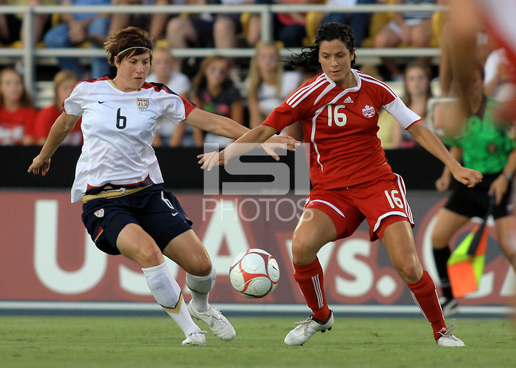 Amy LePeilbet vs Jonelle Filigno of Canada during international women's match between the US and Canada at Blackbaud Stadium in Charleston, SC. USA defeated Canada 1-0 on July 22, 2009.