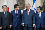 Israeli Prime Minister Benjamin Netanyahu and Japanese Prime Minister Shinzo Abe seen during a meeting with Japanese businessmen at the prime minister's office in Jerusalem, on May 2, 2018. Photo by - Yonatan Sindel-JINIPIX