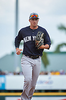 New York Yankees Tyler Wade (82) jogs to the dugout during a Grapefruit League Spring Training game against the Pittsburgh Pirates on March 6, 2017 at LECOM Park in Bradenton, Florida.  Pittsburgh defeated New York 13-1.  (Mike Janes/Four Seam Images)