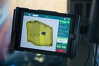 iPad  mounted ni a tractor cab showing variable  seed rate and field maps<br /> &copy;Tim Scrivener Photographer 07850 303986<br />      ....Covering Agriculture In The UK....