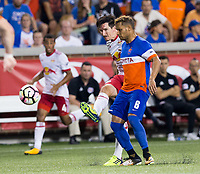 Cincinnati, OH - Tuesday August 15, 2017:  Sacha Kljestan, Paul Nicholson during a 2017 U.S. Open Cup game between FC Cincinnati vs New York Red Bulls at Nippert Stadium.