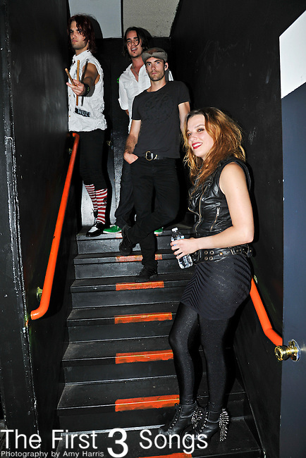 Arejay Hale, Joe Hottinger, Josh Smith, and Lzzy Hale of Halestorm perform at Bogarts in Cincinnati, Ohio.