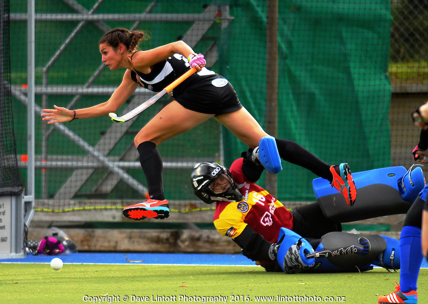 Amy Robinson goes flying during the international women's hockey match between the New Zealand Black Sticks and Malaysia at TET Stadium, Stratford, New Zealand on Thursday, 15 December 2016. Photo: Dave Lintott / lintottphoto.co.nz