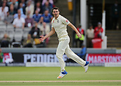 7th September 2017, Lords Cricket Ground, London, England; International Test Match Series, Third Test, Day 1; England versus West Indies; England Bowler Toby Rolland-Jones reacts during his over