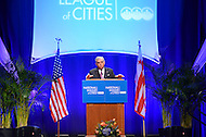 March 12, 2012  (Washington, DC)  Secretary of Transportation Ray LaHood addresses members of the National League of Cities (NLC) Congressional City Conference at the Marriott Wardman Park Hotel in Washington.  (Photo by Don Baxter/Media Images International)