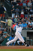 Myrtle Beach Pelicans catcher Victor Caratini (17) at bat during a game against the Wilmington Blue Rocks at Ticketreturn.com Field at Pelicans Ballpark on April 09, 2015 in Myrtle Beach, South Carolina. Myrtle Beach defeated Wilmington 9-1. (Robert Gurganus/Four Seam Images)
