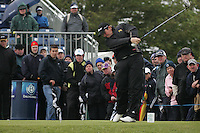 Shane Lowry (AM) Teeing off on the 1st tee box on day 3 of the 3 Irish open in Co Louth Golf Club Baltray..Pic Fran Caffrey/golffile.ie