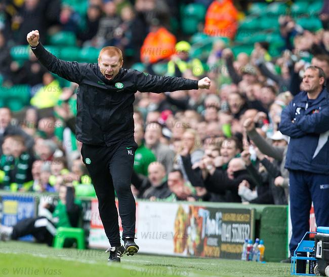Neil Lennon jumps for joy as Scott Brown scores goal no 3 for Celtic