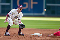 Texas A&M Aggies shortstop Blake Allemand (1) awaits a throw at second base during Houston College Classic against the Nebraska Cornhuskers on March 6, 2015 at Minute Maid Park in Houston, Texas. Texas A&M defeated Nebraska 2-1. (Andrew Woolley/Four Seam Images)