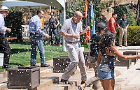 Rehearsal for commencement, including the traditional water balloon fight, Friday, May 16, 2014. (Photo by Marc Campos, Occidental College Photographer)