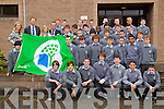 Arthur Spring TD raises the Green Flag at the School on Wednesday.