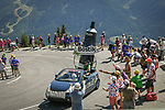 The publicity caravan pass by ahead of the race during Stage 11 of the 2018 Tour de France running 108.5km from Albertville to La Rosiere Espace San Bernardo, France. 18th July 2018. <br /> Picture: ASO/Bruno Bade   Cyclefile<br /> All photos usage must carry mandatory copyright credit (&copy; Cyclefile   ASO/Bruno Bade)