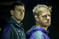 Friday  16 December 2014<br /> Pictured:  Swansea Manager Chris Llewelyn and Alan Tate <br /> Re: Swansea City U18s v Wolverhampton Wonderers U18s, 3rd Round FA youth Cup Match at the Landore Training Facility, Swansea, Wales, UK