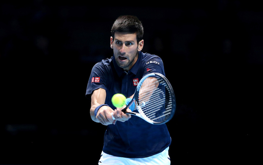 Novak Djokovic of Serbia in action against Andy Murray of Great Britain in their men&rsquo;s singles Final match on day seven of the ATP World Tour Finals <br /> <br /> Photographer Rob Newell/CameraSport<br /> <br /> International Tennis - Barclays ATP World Tour Finals - Day 7 - Saturday 20th November 2016 - O2 Arena - London<br /> <br /> World Copyright &copy; 2016 CameraSport. All rights reserved. 43 Linden Ave. Countesthorpe. Leicester. England. LE8 5PG - Tel: +44 (0) 116 277 4147 - admin@camerasport.com - www.camerasport.com
