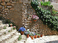 Flowers line old stone steps at a village in the Provence region of southern France.