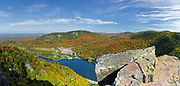 Dixville Notch - Panoramic of Lake Gloriette in Dixville, New Hampshire USA from Table Rock during the autumn months. The Balsams Grand Resort is in view. This image consists of four images switched together.
