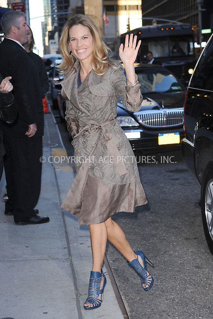 WWW.ACEPIXS.COM . . . . . .October 13, 2010, New York City...Hilary Swank arrives to tape the Late Show with David Letterman on October 13, 2010 in New York City....Please byline: KRISTIN CALLAHAN - ACEPIXS.COM.. . . . . . ..Ace Pictures, Inc: ..tel: (212) 243 8787 or (646) 769 0430..e-mail: info@acepixs.com..web: http://www.acepixs.com .