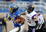 BROOKINGS, SD - NOVEMBER 16: Cade Johnson #15 of the South Dakota State Jackrabbits is hauls in a pass for a big gain in front of Jevon Brekke #20 of the Northern Iowa Panthers during their game Saturday afternoon at Dana J. Dykhouse Stadium in Brookings, SD. (Photo by Dave Eggen/Inertia)