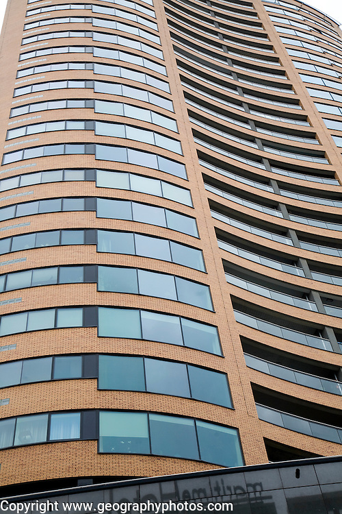 Abstract geometric shapes of modern high-rise apartment block buildings in central Rotterdam Netherlands