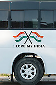 Amritsar, Punjab, India. 'I love my India' painted on a new, modern bus with two Indian flags.