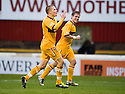 MOTHERWELL'S HENRIK OJAMAA CELEBARTES AFTER HE SCORES MOTHERWELL'S SECOND GOAL