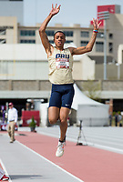 NWA Democrat-Gazette/BEN GOFF @NWABENGOFF<br /> Jaden Purnell of Oral Roberts competes in the long jump Friday, April 12, 2019, at the John McDonnell Invitational at John McDonnell field in Fayetteville. Purnell won with a jump of 22 feet 9 and three-quarter inches.
