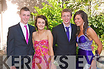 DEBS BALL: Enjoying the crac at the Milltown Debs at the Abbeygate Hotel, Tralee on Friday l-r: Gordon Buckley, Dearbhla Donoghue, Joseph Canning and Fiona Lynch.