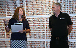 Always Lost: A Meditation on War program manager Amy Roby and Veterans Coordinator Kevin Burns speak at a final reception for the exhibit at Western Nevada College in Carson City, Nev., on Thursday, July 28, 2016. Program co-founder Marilee Swirczek, who died July 17, was also honored during the ceremony. <br />