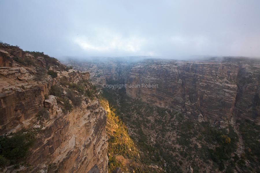 great canyon of Qohaito at sunrise