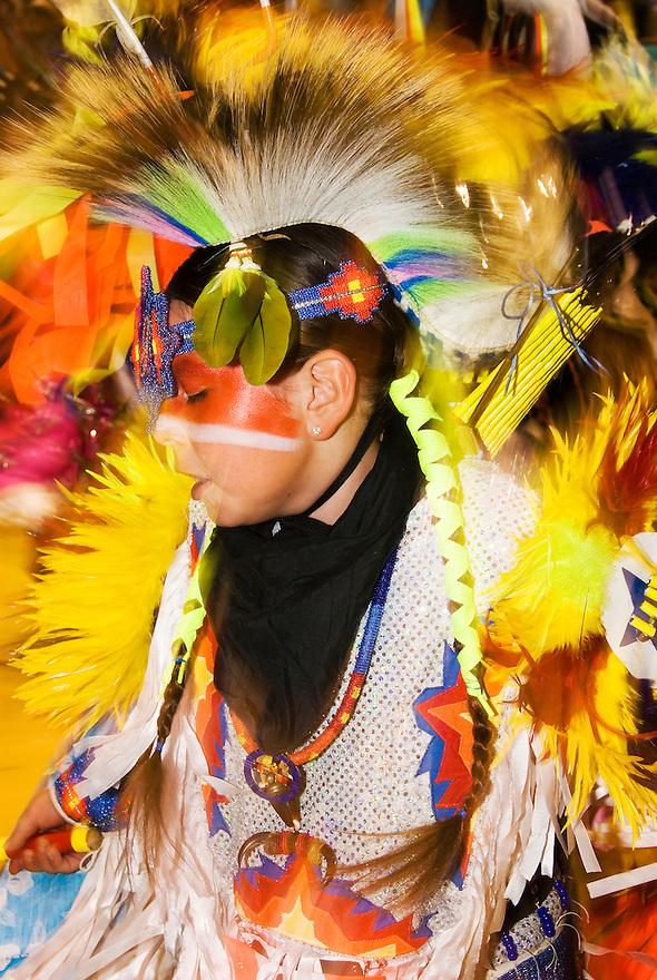 A Native American dancer performs at a powwow in Bozeman, Montana.