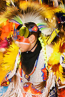 A Native American dancer performs at a powwow in Bozeman, Montana.