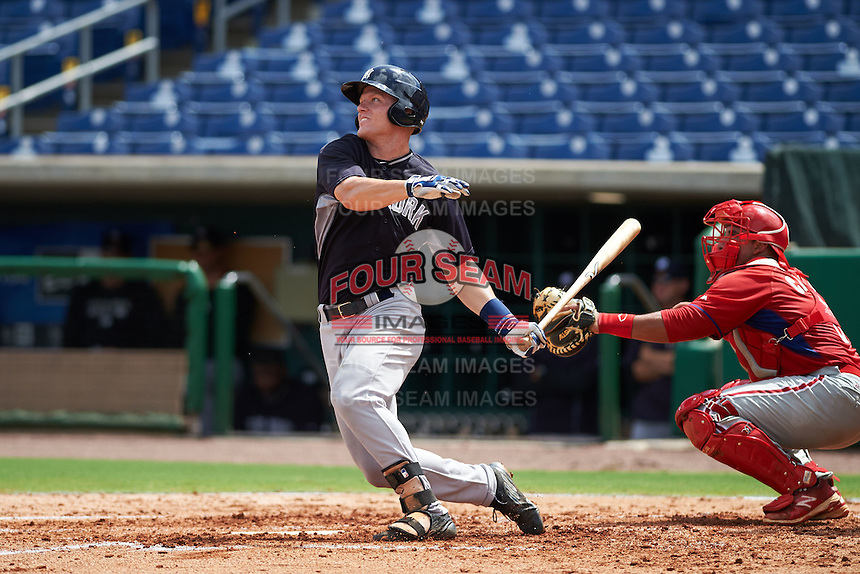 New York Yankees Trey Amburgey (92) during an instructional league game against the Philadelphia Phillies on September 29, 2015 at Brighthouse Field in Clearwater, Florida.  (Mike Janes/Four Seam Images)