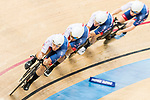 The team of Great Britain with Mark Stewart, Steven Burke, Kian Emadi and Oliver Wood competes in the Men's Team Pursuit - Finals as part of the 2017 UCI Track Cycling World Championships on 13 April 2017, in Hong Kong Velodrome, Hong Kong, China. Photo by Chris Wong / Power Sport Images