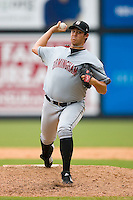 Relief pitcher Henry Mabee #50 of the Birmingham Barons in action versus the Carolina Mudcats at Five County Stadium August 16, 2009 in Zebulon, North Carolina. (Photo by Brian Westerholt / Four Seam Images)