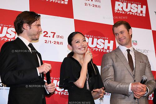 Daniel Bruhl, Miki Ando, Chris Hemsworth, Jan 30, 2014 : Daniel Bruhl, Miki Ando, Chris Hemsworth attend film'Rush' Japan premiere on 30 Jan 2014,Tokyo Japan