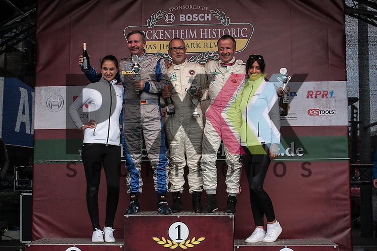 Hockenheim 10.-12. April 2015, BOSCH Hockenheim Historic auf dem Hockenheimring.<br /> <br /> Siegerehrungg der Triumph Competition und British GT - 1. Rainer Vork&ouml;pper (Jaguar E Type), 2. Rainer Bastuck (Marcos 1800), 3. Urs M&uuml;ller (Lotus 26R)<br /> <br /> Foto &copy; P-I-X.org *** Foto ist honorarpflichtig! *** Auf Anfrage in hoeherer Qualitaet/Aufloesung. Belegexemplar erbeten. Veroeffentlichung ausschliesslich fuer journalistisch-publizistische Zwecke. For editorial use only.