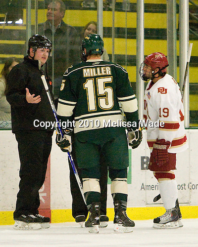 Tim Low, Kevan Miller (Vermont - 15), Kyle Ostrow (Denver - 19) - The visiting Denver University Pioneers defeated the University of Vermont Catamounts 5-3 (EN) on Friday, October 8, 2010, at Gutterson Fieldhouse in Burlington, Vermont.