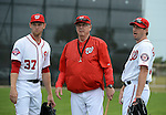 VIERA, FL-  FEBRUARY 26: (L-R) Max Scherzer, Steve McCatty, and Max Scherzer speak before a bullpen session during the Washington Nationals Spring Training at Space Coast Stadium in Viera, FL (Photo by Donald Miralle) *** Local Caption ***