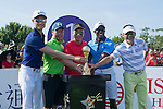 (L-R) Li Haotong, Zhao Hongbo, Tenniel Chu, Dwight Yorke, and He Ping during the World Celebrity Pro-Am 2016 Mission Hills China Golf Tournament on 22 October 2016, in Haikou, China. Photo by Marcio Machado / Power Sport Images