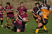 Mika Pamaka gets taken to ground by the Mario Vodanovich & Cales Brown. CMRFU Counties Power Cup Game of the Week between Te Kauwhata & Puni played at Te Kauwhata on Saturday May the 3rd, 2008..Te Kauwhata led 5 - 0 at halftime & went on to win 29 - 0.