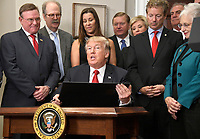 United States President Donald J. Trump signs an Executive Order to promote healthcare choice and competition in the Roosevelt Room of the White House in Washington, DC on Thursday, October 12, 2017.  The President's controversial plan is designed to make lower-premium health insurance plans more widely available.<br /> Credit: Ron Sachs / Pool via CNP /MediaPunch