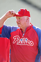 Philadelphia Phillies Manager Charlie Manuel #41 before a game against the Los Angeles Dodgers at Dodger Stadium on July 16, 2012 in Los Angeles, California. Philadelphia defeated Los Angeles 3-2. (Larry Goren/Four Seam Images)