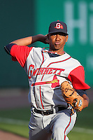Gwinnett Braves starting pitcher Julio Teheran #27 in the bullpen before a game against the Buffalo Bisons at Coca-Cola Field on May 17, 2012 in Buffalo, New York.  Buffalo defeated Gwinnett 4-2.  (Mike Janes/Four Seam Images)