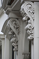 1850 Greek revival architectural detail are shown on a Brooklyn Heights apartment, NY, Monday August 1, 2011. Looked upon as the last phase in the development of Neoclassical architecture, the Greek Revival was an architectural movement of the late 18th and early 19th centuries, predominantly in Northern Europe and the United States.