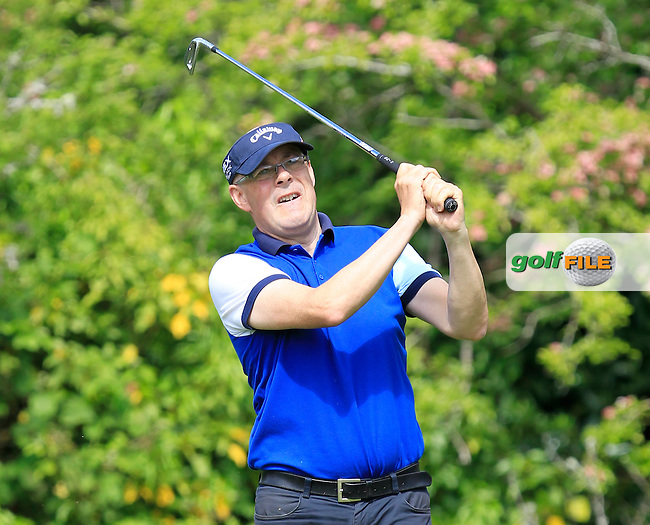 Frank Flynn (Laytown &amp; Bettystown) on the 2nd tee during Round 1 of the Irish Mid-Amateur Open Championship at New Forest on Saturday 20th June 2015.<br /> Picture:  Thos Caffrey / www.golffile.ie